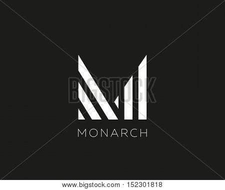 Abstract letter M logo design. Linear creative monochrome monogram symbol. Universal elegant vector icon. Premium business finance logotype
