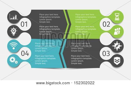 Modern infographic lines set. Green and blue 4 stage template for presentation, chart, graph. Vector illustration