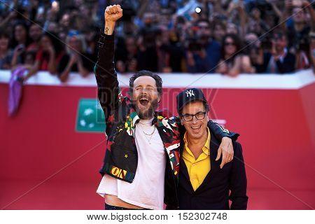 Rome Italy - October 16 2016. The Italian singer Jovanotti with Antonio Monda director of the 11th International Film Festival of Rome.