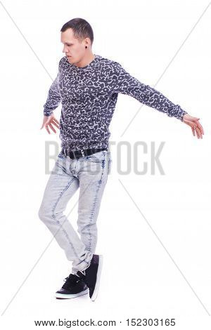 Men Dancing. Isolated On White