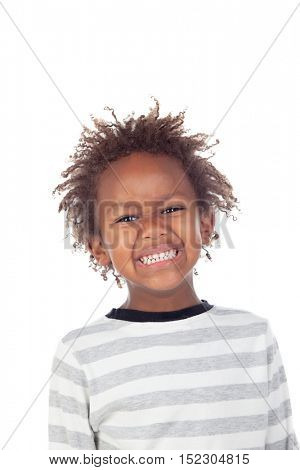 African child putting mean face isolated on white background