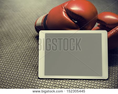 Boxing Glove Digital Tablet Training Copy Space Concept