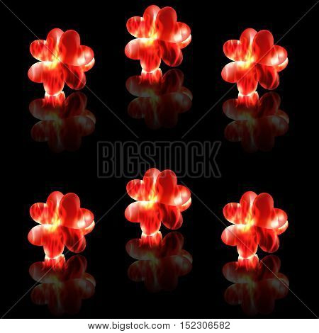 Burning hearts melted together flames reflection seamless vector background