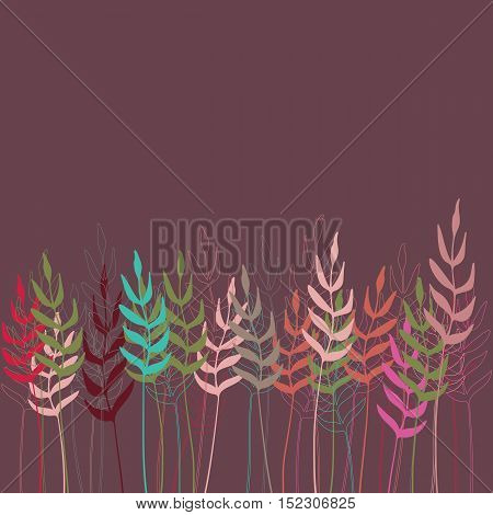 Vector floral background with stylized branches and leaves in pastel colors on purple backdrop. Hand drawn illustration.