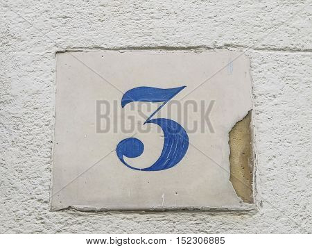 Number 3 street sign slab blue and white