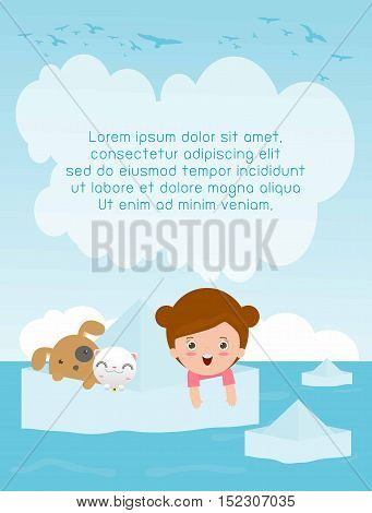 Children sit in a paper boat with pet. Cute little kids and paper ship Flyer, Banner or Pamphlet,Template for advertising brochure,your text ,Kids and frame,child and frame,Vector Illustration,kid pet