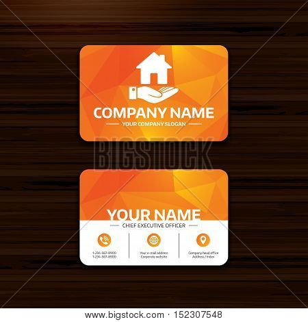 Business or visiting card template. Home and hand sign icon. Palm holds house symbol. Phone, globe and pointer icons. Vector