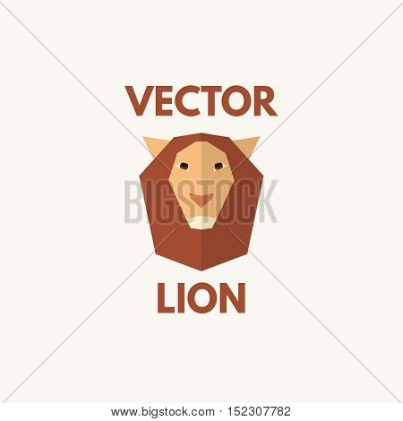 Lion head in flat style. Vector logo template