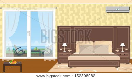 The interior of resort hotel room with outlet to sea and furniture on the terrace. Vector illustration in flat style