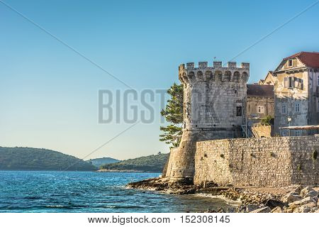 View at old architecture in marble town Korcula, Croatia Europe.