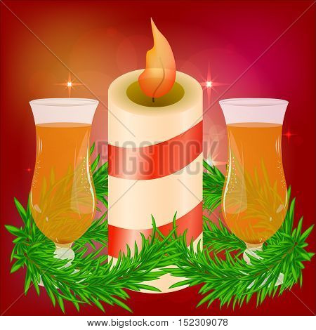 Festive red bright background. Beautiful candle. Branches of trees. Preparing for Christmas. Romantic evening. Glasses of champagne, wine, drink. St. Valentine's Day . Vector illustration