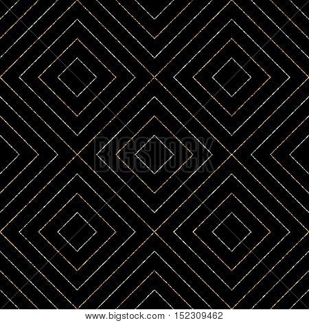 Geometric seamless pattern of gold silver diagonal lines or strokes, abstract seamless background of golden silvery rhombus, square