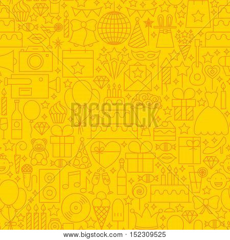 Birthday Yellow Line Tile Pattern. Vector Illustration of Outline Seamless Background. Party Celebration.