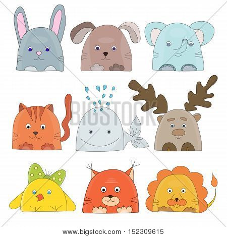 Cute animals collection for kids party design