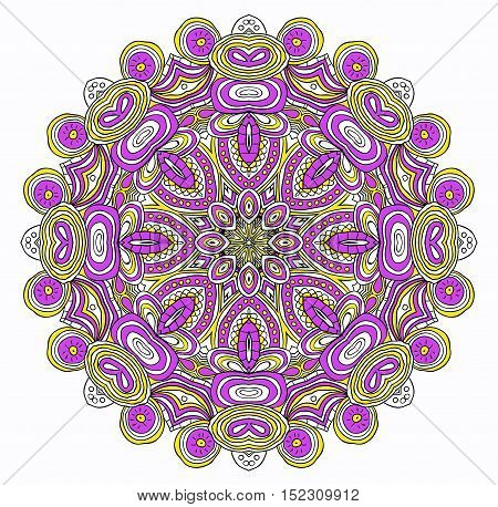 Round symmetrical pattern in violet, red, yellow and white colors. Mandala. Kaleidoscopic design.