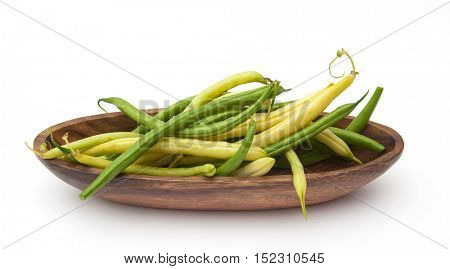 Harvest of asparagus siliculose yellow and green beans. Isolated on white