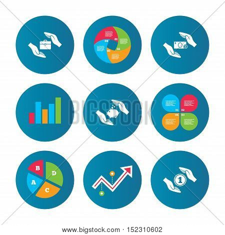 Business pie chart. Growth curve. Presentation buttons. Hands insurance icons. Piggy bank moneybox symbol. Money savings insurance signs. Travel luggage and cash coin symbols. Data analysis. Vector
