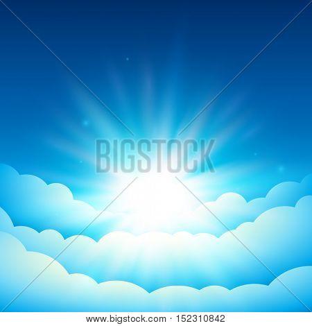Bright sun in the blue sky. Fairy Tale cover