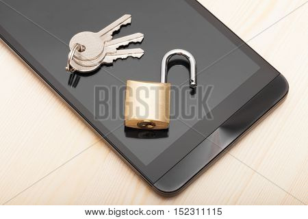 Smartphone With Small Lock And Keys. Mobile Phone Security And Data Protection Concept