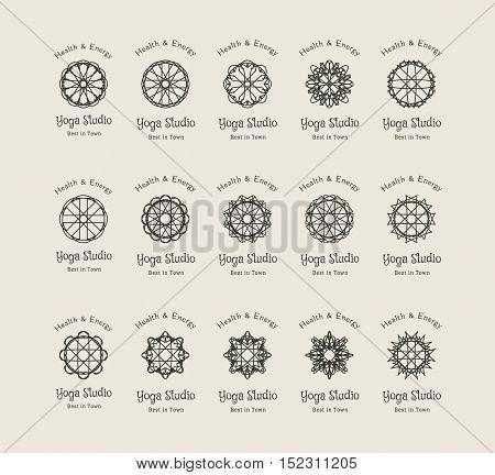 Yoga ornamental emblem set. Vector lineart logo templates for relax or spa center, yoga studio, healthcare and traditional medicine