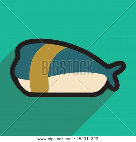 Flat with shadow icon Sashimi with shrimp on stylish background