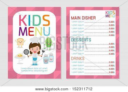 Cute colorful kids meal menu design, kids meal menu