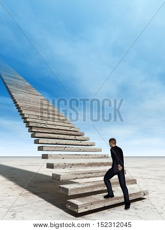 Concept conceptual 3D illustration business man walking or climbing stair on sky background with clouds