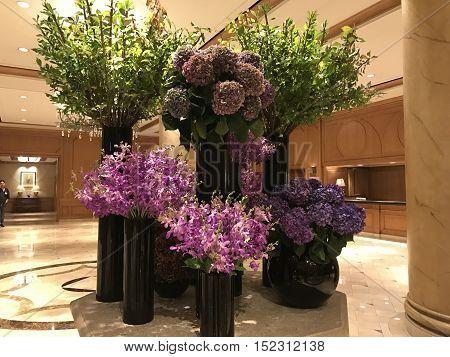 A beautiful display of floral arrangements at the Ritz Carlton hotel in Seoul, Korea. Photo taken October, 2016.