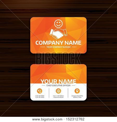 Business or visiting card template. Smile handshake sign icon. Successful business with happy face symbol. Phone, globe and pointer icons. Vector