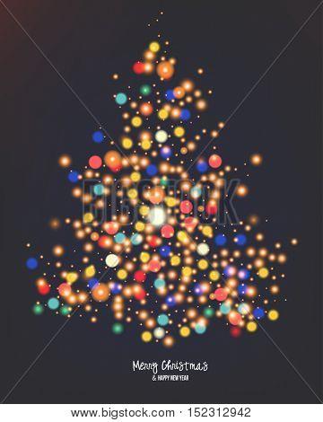 Vector Christmas lights. Card design for the winter holidays. Bokeh light tree illustration.