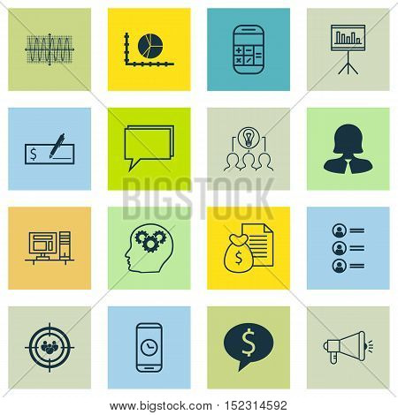 Set Of 16 Universal Editable Icons For Airport, Advertising And Marketing Topics. Includes Icons Suc
