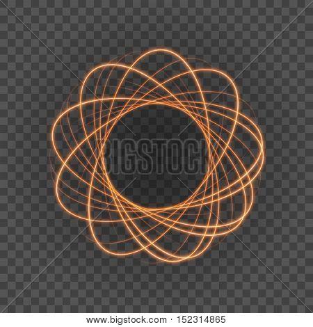 Smooth Light Orange Lines On Transparency Background Vector Illustration.