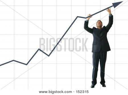 Business Man Pushing Graph oben - Je