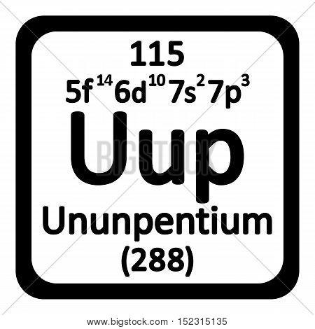 Periodic table element ununpentium icon on white background. Vector illustration.