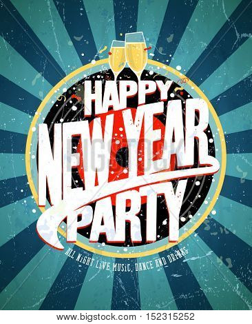 New year party vintage design concept, rasterized version