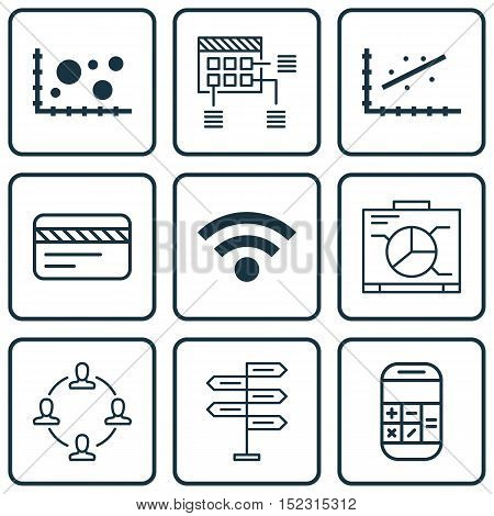 Set Of 9 Universal Editable Icons For Project Management, Statistics And Travel Topics. Includes Ico