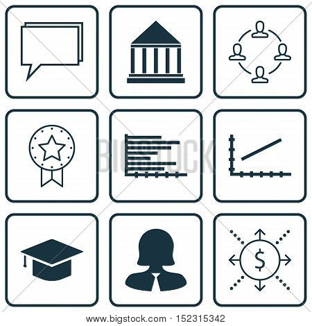 Set Of 9 Universal Editable Icons For Seo, Education And Statistics Topics. Includes Icons Such As P