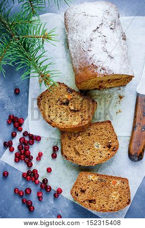 Christmas honey cake on table with festive decorations winter holiday recipe
