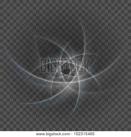 Smooth Light Gray Lines On Transparency Background Vector Illustration.
