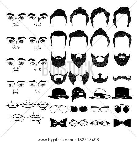 Male faces monochrome constructor with hairstyles beards and mustaches hat and ties glasses isolated vector illustration