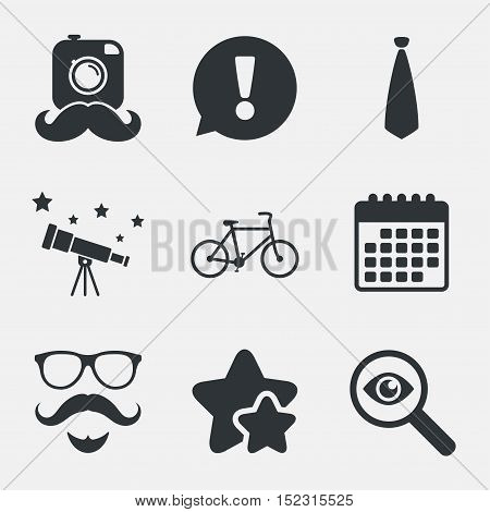 Hipster photo camera. Mustache with beard icon. Glasses and tie symbols. Bicycle family vehicle sign. Attention, investigate and stars icons. Telescope and calendar signs. Vector