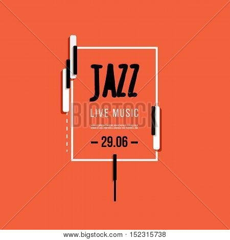Jazz music festival, poster background template. Keyboard with music notes and piano keys. Flyer Vector design.