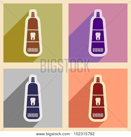 Icons of assembly Toothpaste in flat style
