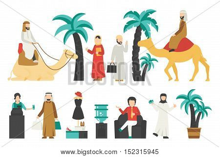 Dubai flat set. Isolated On White Background, People Vector Illustration. Graphic Editable For Your Design
