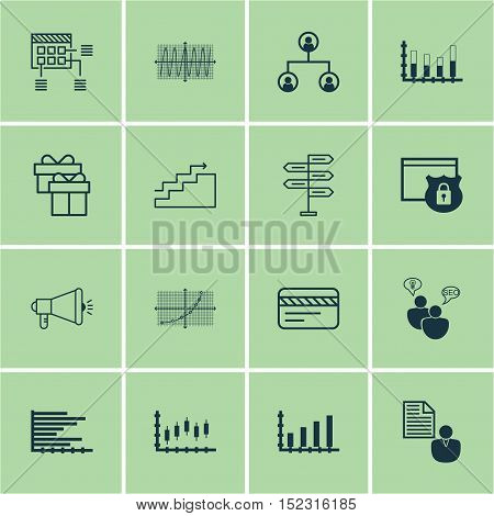 Set Of 16 Universal Editable Icons For Human Resources, Statistics And Advertising Topics. Includes