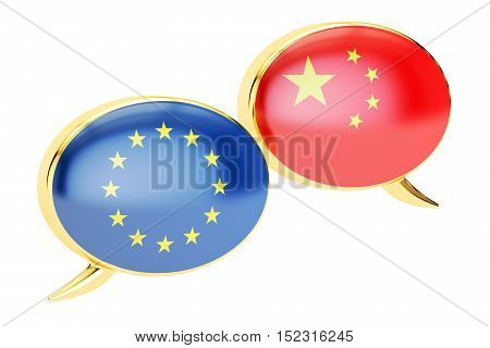 Speech bubbles EU-China conversation concept. 3D rendering isolated on white background
