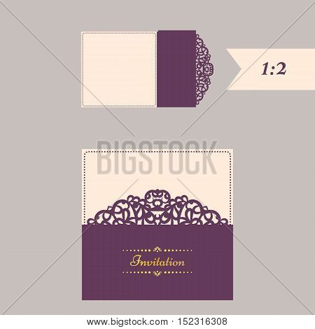 Lazercut vector wedding invitation template. Wedding invitation envelope for laser cutting. Lace gate folds.Lazer cut vector.