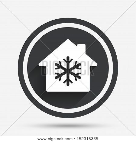 Air conditioning indoors icon. Snowflake sign. Circle flat button with shadow and border. Vector