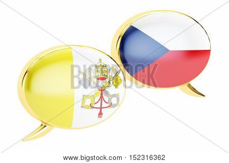 Speech bubbles Latin-Czech conversation concept. 3D rendering
