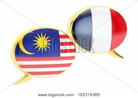Speech bubbles Malaysian-French translation concept. 3D rendering